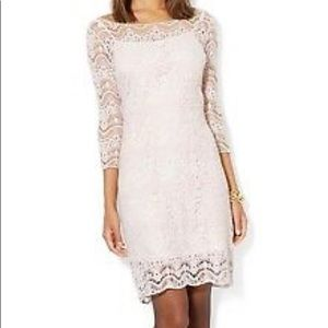 Ralph Lauren Crochet 3/4 Sleeve Dress, White Sml